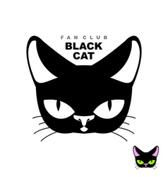 Black cat fan club logo for cat lovers or cat vector