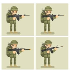 Soldier flat design animation shot weapon vector
