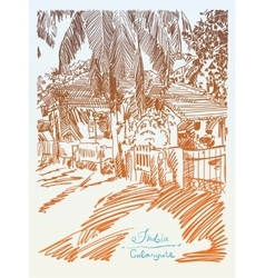 Original drawing of india goa calangute baga vector
