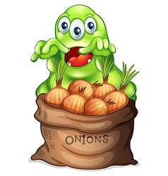 A sack of onions with a monster vector