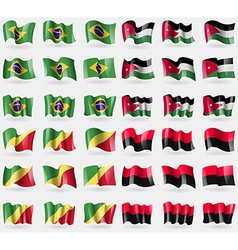 Brazil jordan congo republic upa set of 36 flags vector