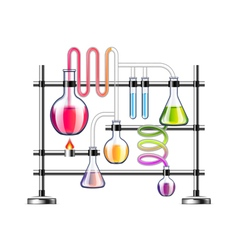 Chemistry laboratory isolated on white background vector image