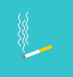 Cigarette and smoke isolated smoking on blue vector