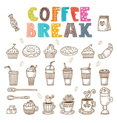 Coffee break doodle set Hand drawn coffee elements vector image vector image