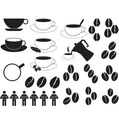 Coffee cups and coffee beans vector image vector image