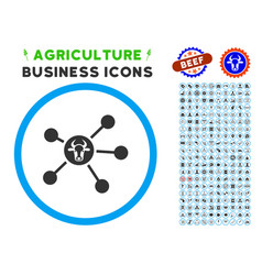 Cow links rounded icon with set vector