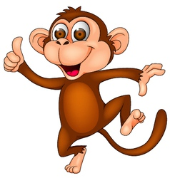 Cute monkey dancing vector image vector image
