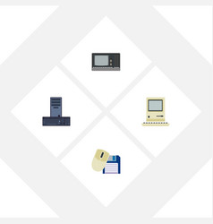Flat icon computer set of computing vintage vector