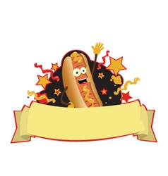 funny hot dog banner vector image vector image