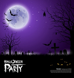 Happy Halloween scary on purple background vector image vector image