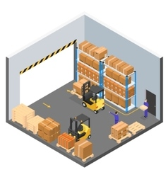 Interior Warehouse Building Isometric View vector image vector image