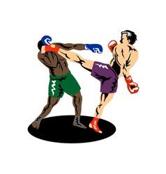 Kickboxer side kick vector