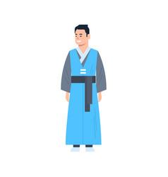 Korea traditional clothes man wearing ancient vector
