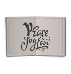 Peace joy love hand-lettering text handmade vector