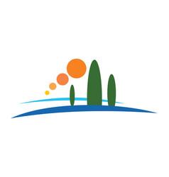 Pine tree mountain nature logo vector