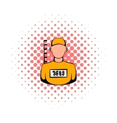 Prisoner in hat with number icon comics style vector