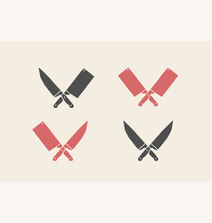 Set of restaurant knives icons vector