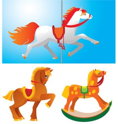 Set of toy horses vector image