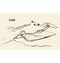 Sketch great wall of china vector