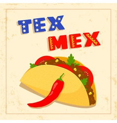 Tex mex taco on white background vector