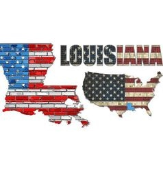 USA state of Louisiana on a brick wall vector image vector image