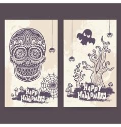 Vintage halloween set of banners vector
