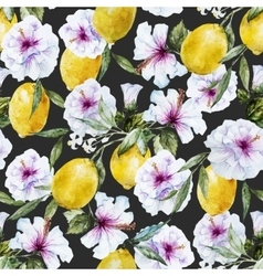 Watercolor lemon pattern vector image