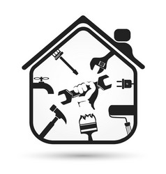 wrench in hand and house tool vector image vector image
