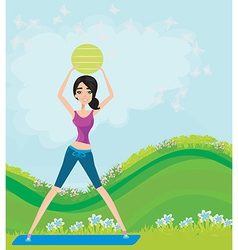 Young smiling woman makes exercise with fitball vector image vector image