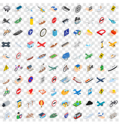 100 transport and road icons set isometric style vector