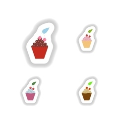 Set stylish paper stickers cupcake with cream and vector