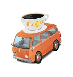 Car coffee fast food on white vector
