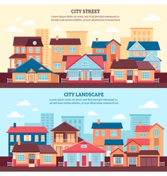 City Landscape Flat Banners vector image