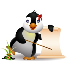 Cute penguin with blank sign vector