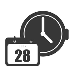 Calendar with clock device vector