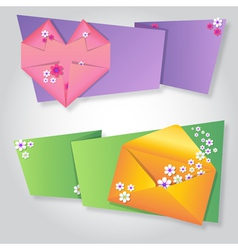 Origami notepaper folded note sheets with flowers vector