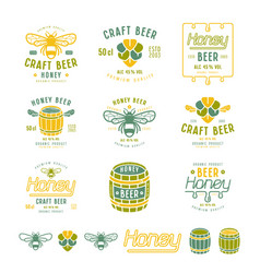 Set of honey beer labels and badges vector
