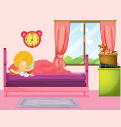 little girl sleeping in bedroom vector image