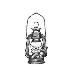 oil lamp vintage hand drawn lanterns vector image