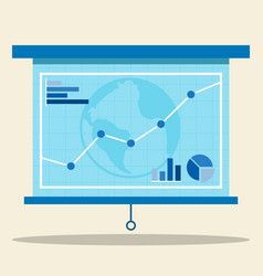 Projector screen with graph vector