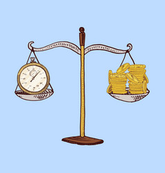 money or coin and scales with time concept of vector image