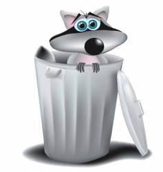 Raccoon in garbage can vector