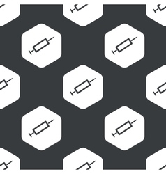 Black hexagon syringe pattern vector