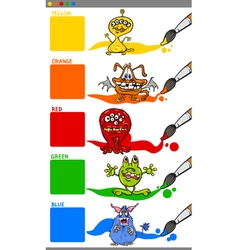 Main colors with cartoon monsters vector