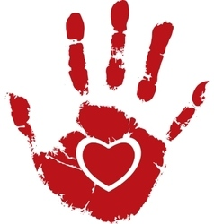 Red heart with white hand print vector