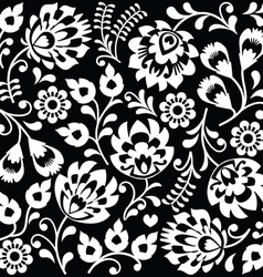 Polish folk art white pattern on black vector
