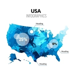 Usa america polygonal triangle blue map vector
