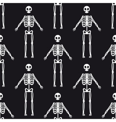 Seamless pattern with white skeletons vector