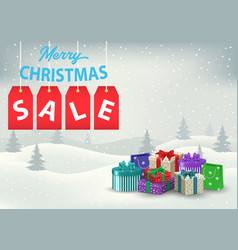 a christmas sale poster with colorful gifts on a vector image