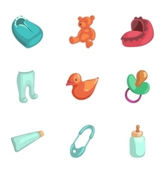 Baby accessories icons set cartoon style vector